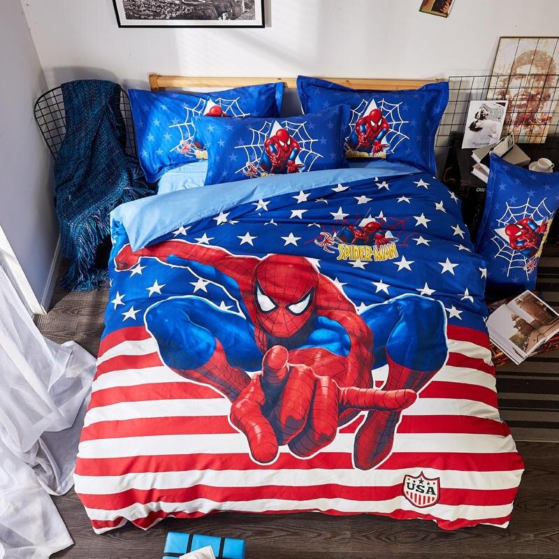 blue disney spider man bedding set twin size bedspreads queen comforter duver covers boys bedroom decor 100 cotton kids child