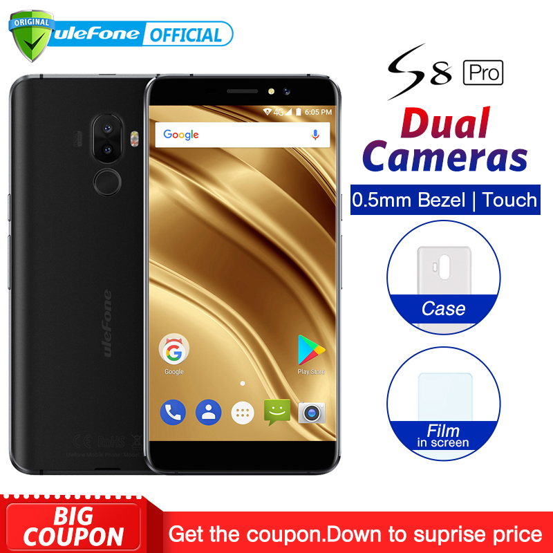 Ulefone S8 Pro Dual Rear Cameras Mobile Phone Android 7.0 5.3 inch HD MTK6737 Quad Core 2GB+16GB 13MP Fingerprint 4G SmartphoneUlefone S8 Pro Dual Rear Cameras Mobile Phone Android 7.0 5.3 inch HD MTK6737 Quad Core 2GB+16GB 13MP Fingerprint 4G Smartphone