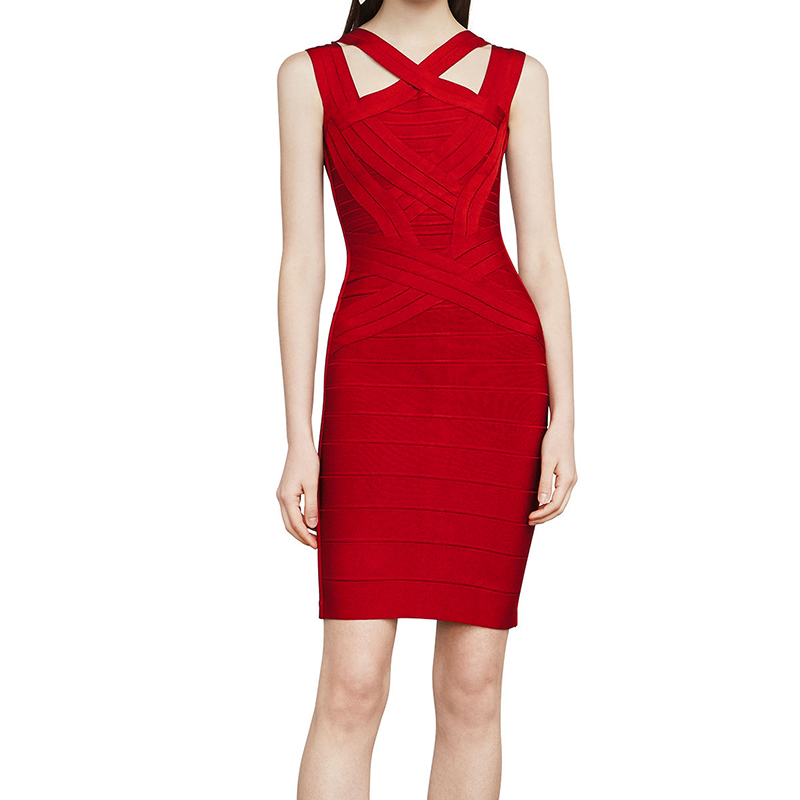 2017 High Quality Fashion Going Out Day Black Friday Party Cutout Front Cold Shoulder Above Knee Mini Red Bandage Bodycon Dress