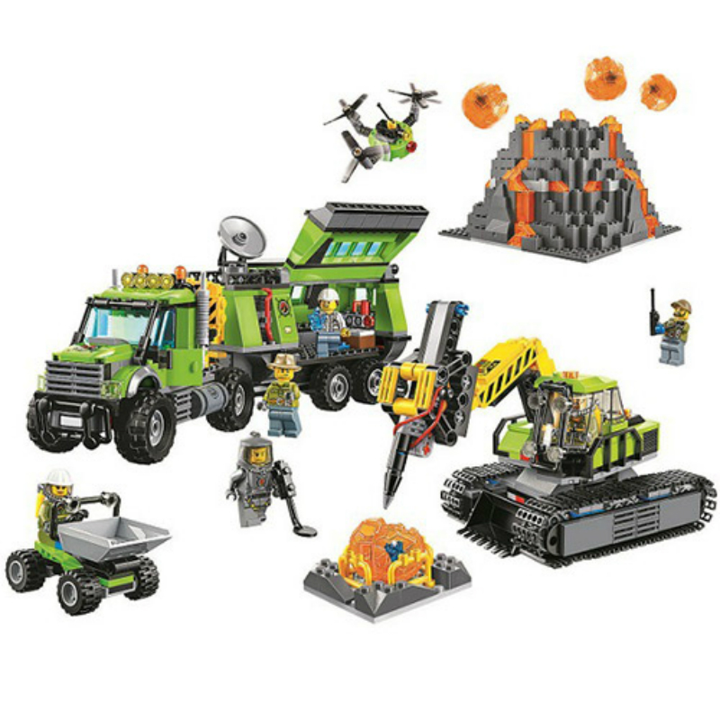 10641 Bela City Series Volcano Exploration Base Geological Prospecting Building Block Bricks Toys Compatible with Legoe 60124 pair of hot sale stunning fashion style magnetic crown shape stud earrings