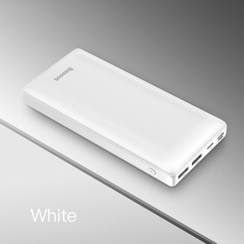 Baseus 30000 мАч Внешний аккумулятор PD USB C Быстрая зарядка внешний аккумулятор для iPhone11 samsung huawei type C портативное зарядное устройство Внешний аккумулятор - Цвет: White Power Bank