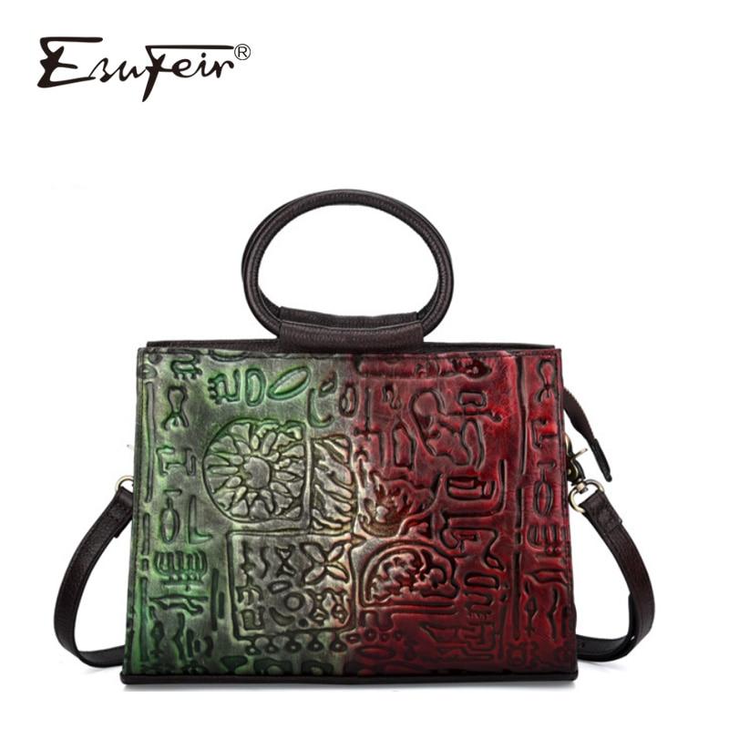 Luxury Brand Embossed Genuine Leather Women Handbag Vintage Shoulder Bag Messenger Bag Casual Fashion Large-capacity Female Bag