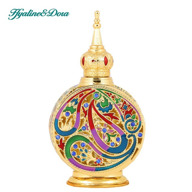 18ML Retro Antique Glass Perfume Bottle 1.4 inch Flower Vine Empty Glass Cosmetic Container Wedding Decoration Perfume Bottle