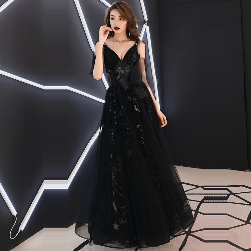 Evening Dress Lace V-neck Women Party Dresses Backless Zipper Robe De Soiree 2019 Long Plus Size Sleeveless Formal Gowns E693