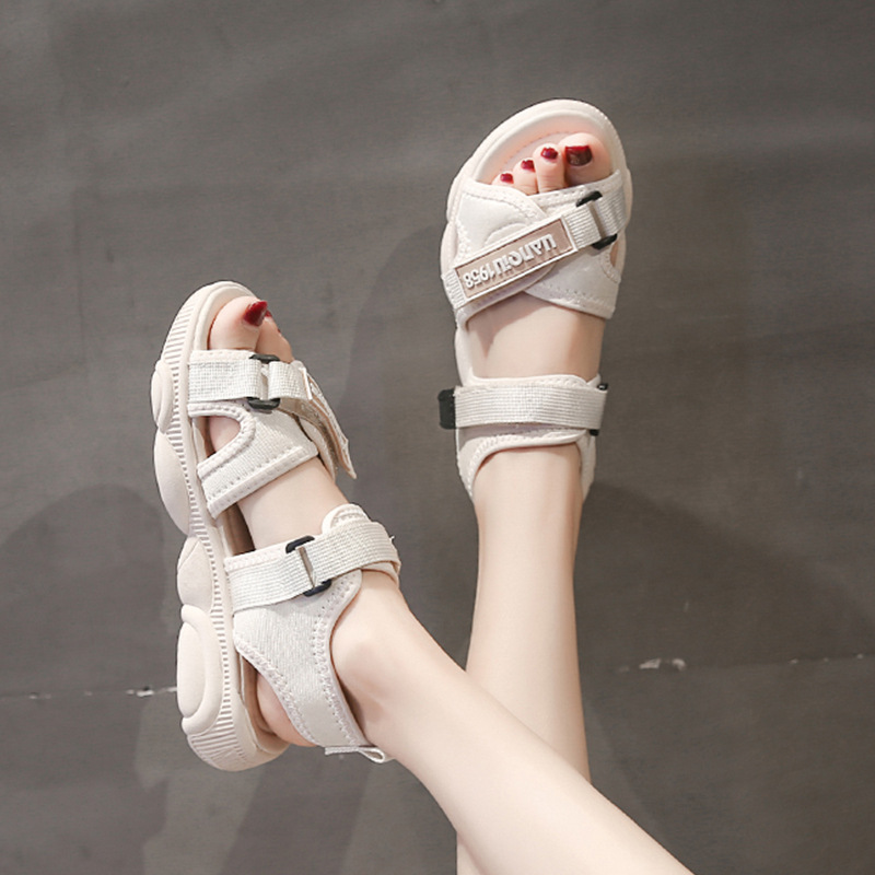 White Outdoor Flat Sandals Female 2019 Summer Platform Sports Sandals Soft Comfortable Roman Sandals For Women Beach Shoes Black