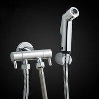 Bathroom Toilet Bidet Tap Set Handheld Hygienic Shower Portable Bidet Sprayer Guns Bidet Double Outlet Angle Valve Bidet Set