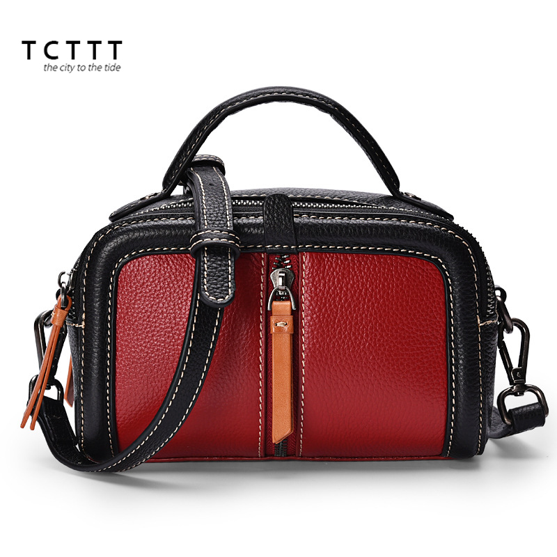 TCTTT Genuine leather women's Shoulder bag High Quality luxury handbags women bags designer Vintage Fashion Tote Bolsas Feminina tcttt luxury handbags women bags designer fashion women s leather shoulder bag high quality rivet brand crossbody messenger bag