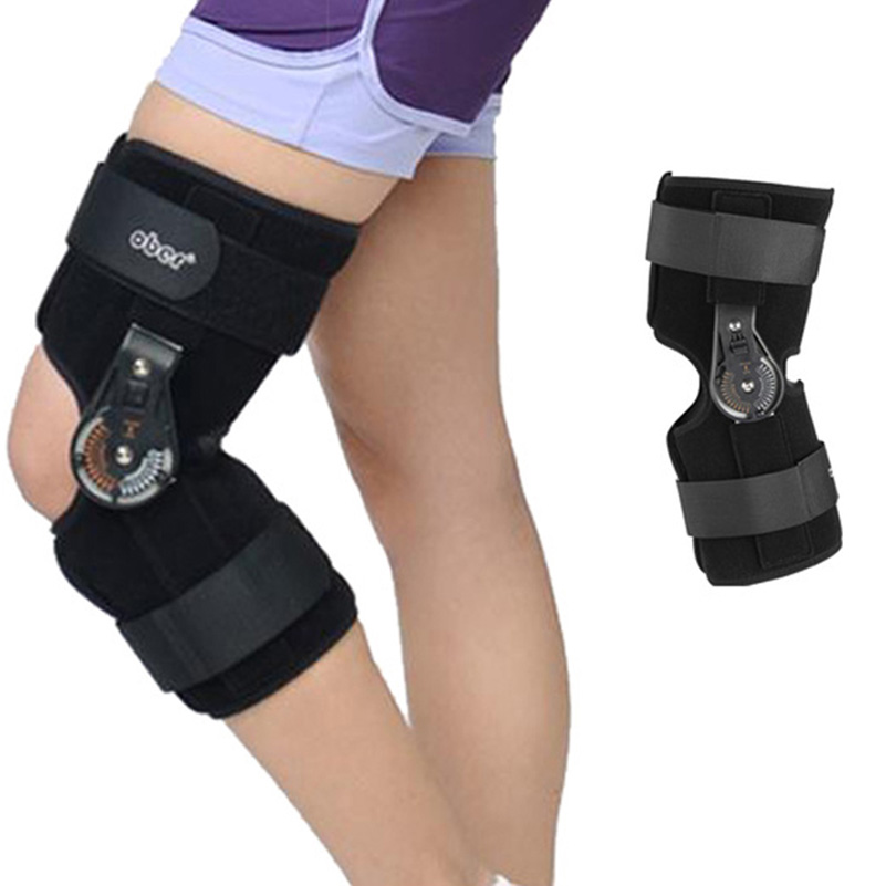 Oper Knee Splint Brace Adjustable Knee Joint Support Orthosis Medical Hinged Support Patella Fracture Injury Fix Stabilizer Pads medical orthopedic hinged knee brace support adjustable splint stabilizer wrap sprain hemiplegia flexion extension