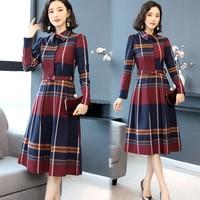 Autumn New Big Size Waist Plaid Midi Dress Temperament Generous Dress Elegant Fashion With Belt Shirt Dress Brief Ol Vestidos