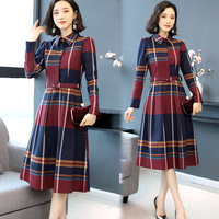 Autumn New Big Size Waist Plaid Midi Dress Temperament Generous Dress Elegant Fashion With Belt Shirt Dress Brief Ol Vestidos