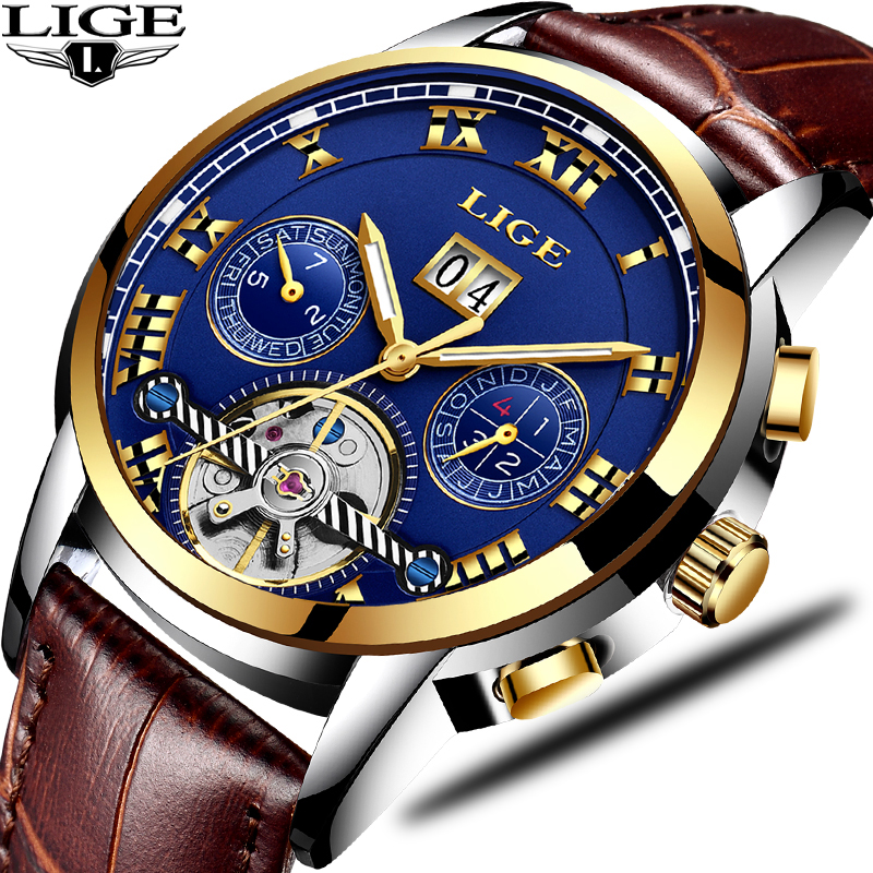 LIGE Mens Watches Top Brand Luxury Men s Automatic Mechanical Watch Men s Fashion Business Waterproof
