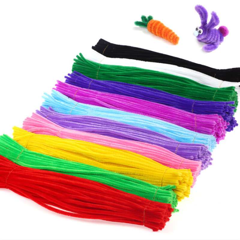 100pcs Chenille Stems Pipe Cleaners Kids Educational Toy Twist Rod Black