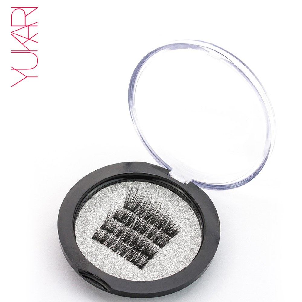 YUKARI 4 PCS whole three Magnetic false Eyelashes make up 3D Semi-Hand Made makeup cilios magneticos EyeLash Natural Mink Soft