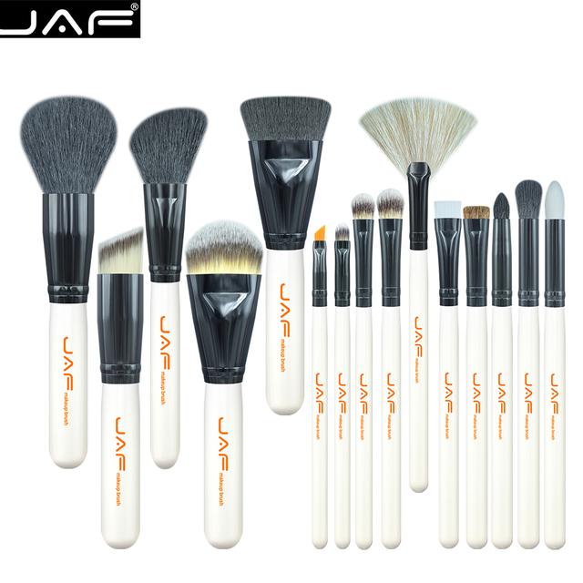 Jaf 15 unids maquillaje cepillo conjunto j1501m valor worthing (5 Grande + 10 Pequeña) Maquillaje Pinceles Negro y Blanco pelo Súper Blando