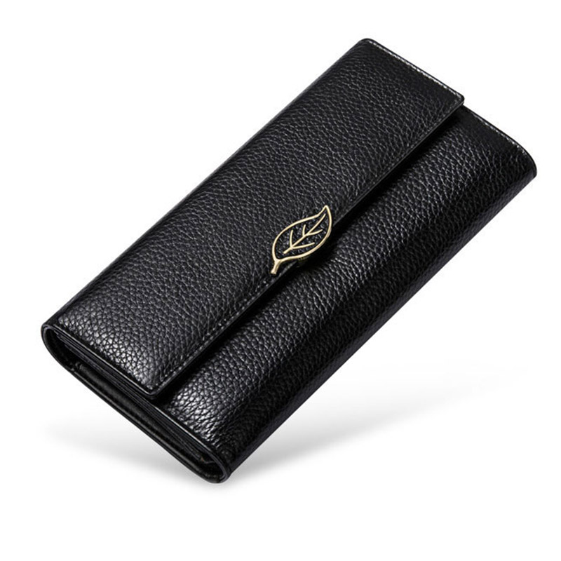 Metal Leaf Women Genuine Leather Wallets Lady Long Coin Purse Wallet Hasp Trifold Women 39 s Clutch Bag Purse Phone Bag Card Holder in Wallets from Luggage amp Bags