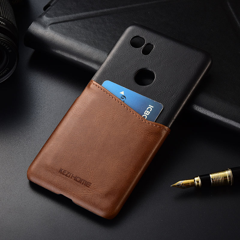 Case For Google Pixel 2 XL Two Colors Genuine Leather Hard Back Cover For Google Pixel 2XL 6.0 With Card Pocket