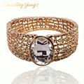 DAZZLING YANG'S New Hot Fashion Women Bracelet Bangle Hollow Out Design Faux Rhinestone Crystal Wrist Charm Bangle Bracelets