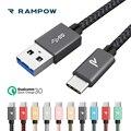 RAMPOW 5 В/3A usb Тип C кабель 5 Гбит/с QC3.0 Быстрая зарядка USB C кабель для huawei P20 кабель для зарядки телефона для Xiaomi mi8/One Plus 6 - фото