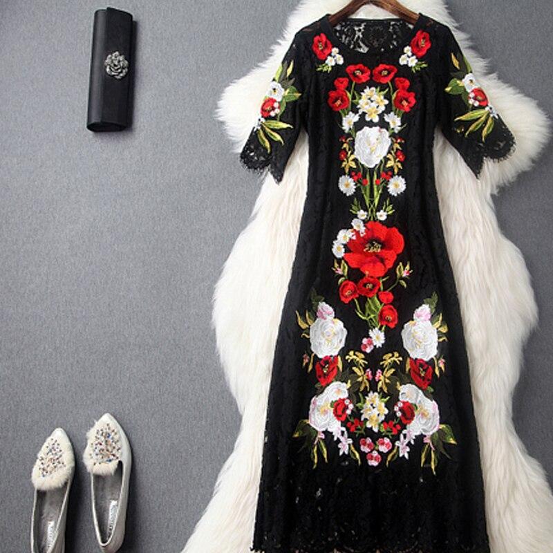Dentelle Longue 2018 Robe Été Midi Floral Tunique Robes Femmes Parti Broderie Plus Noire Designer Vêtements Piste La Taille xCrdBoe