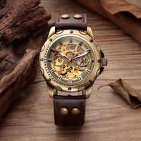 Retro Skeleton Mechanical Watch Top Automatic Mechanical Watches Men Vintage Leather Bronze Watch Men Clock Mechanism Droppship