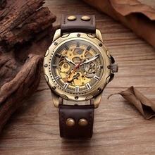 Retro Skeleton Mechanical Watch Top Automatic Watches Men Vintage Leather Bronze Clock Mechanism Droppship