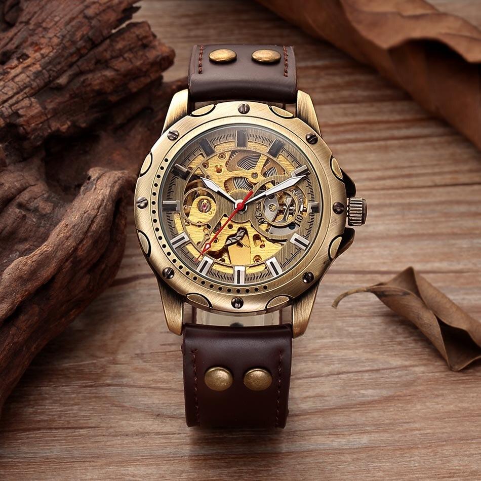 Retro Skeleton Mechanische Uhr Top Automatische Mechanische Uhren Männer Vintage Leder Bronze Uhr Männer Uhr Mechanismus Droppship
