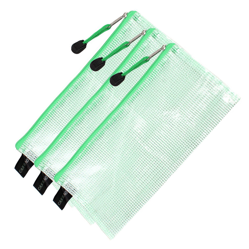 School Office With Zipper Of Records Pen Receipts Bag Transparent Green 3 Pieces