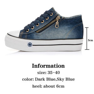 Image 4 - SWYIVY Autumn Shoes Women Sneakers Platform 2019 Female Shoes Causal Vulcanize Canva Sneakers For Women Zapatos Mujer Shoe Denim