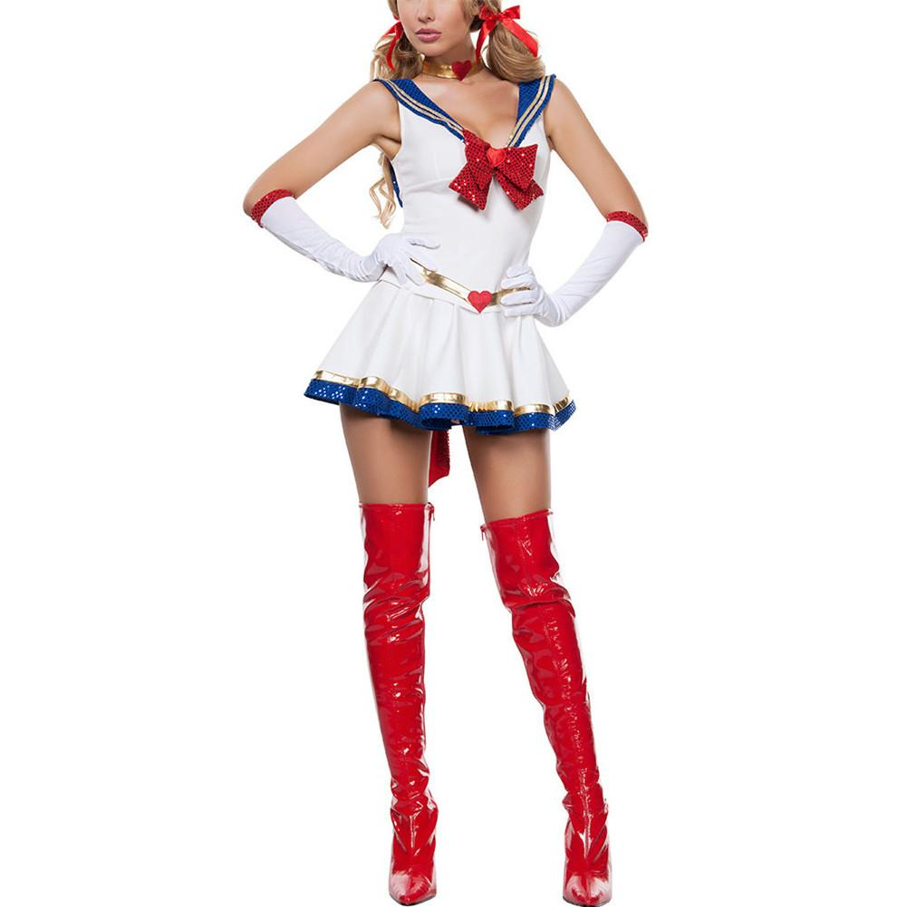 Sexy Lady White Moon Mars Sailor Moon Mercury Cartoon Costume Cosplay Movie Girl Dress Halloween Costume