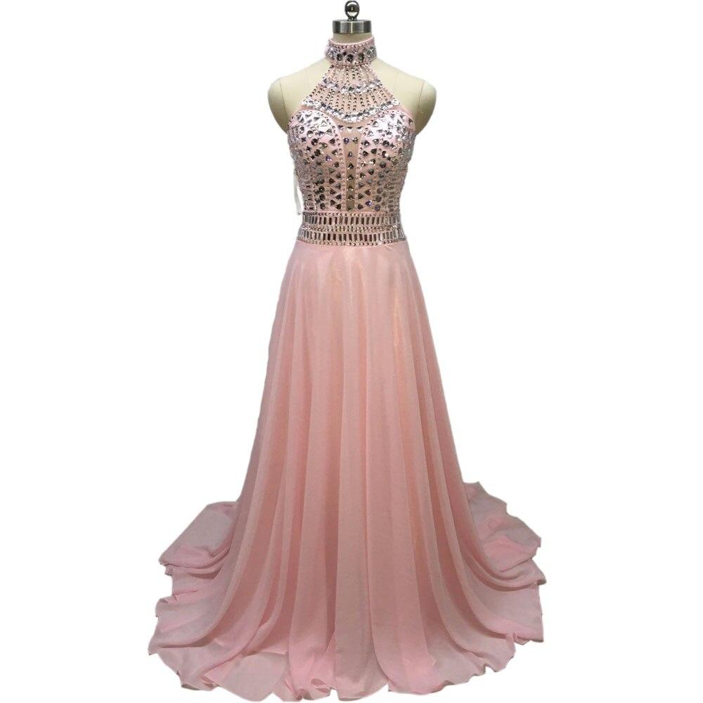 Moda Crystal prom vestidos escote Halter Pink gasa vestidos de ...