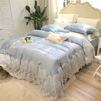 Blue Tencel silk white Lace luxury princess Bedding Set king queen bed set embroidery bed cover Bedsheets linens Duvet Cover set