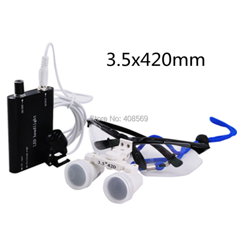 Promotion New Black 3.5 X Dental Surgical Binocular Loupes Dentist 420mm +LED Head Light Lamp SY-04 Wholesale Dropshipping  цены