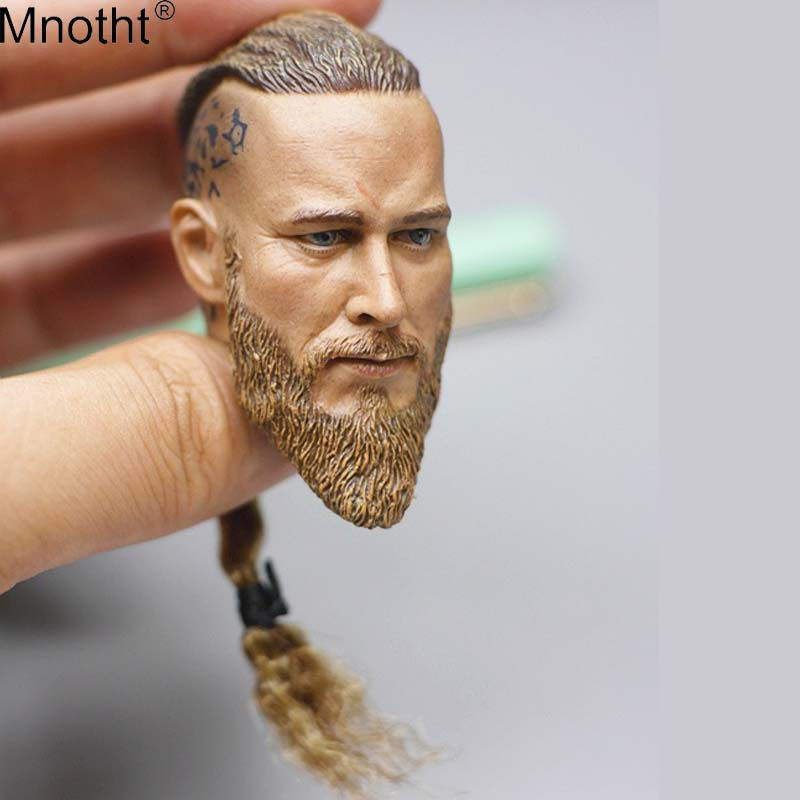 цены на Mnotht Vikings Male Head Sculpt Model 1/6 Ancient Soldier Head Carvings Toy Accessory for 12in Action Figure Collection ma