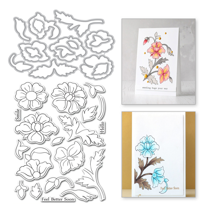 Eastshape Flower Clear Stamps And Metal Cutting Dies Scrapbooking New 2019 For Making Cards Craft Dies Set Embossing DIY Stencil
