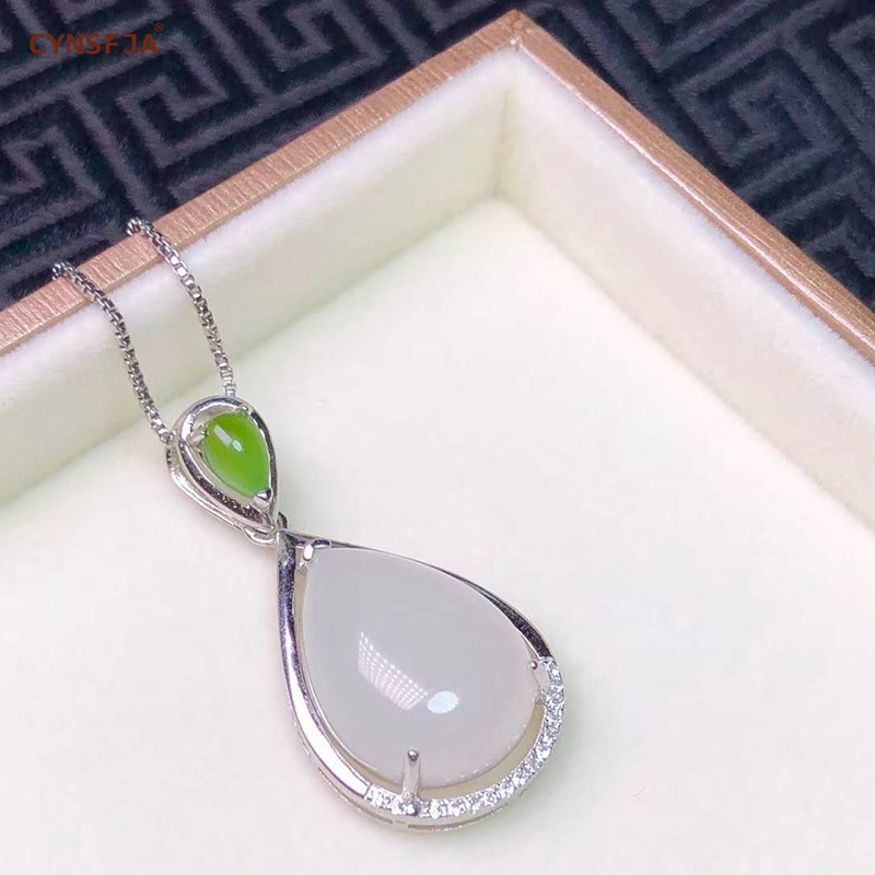 Jade Hetian naturel certifié incrusté 925 argent Sterling fait à la main pendentif Jade chanceux blanc vert de haute qualité cadeaux merveilleux