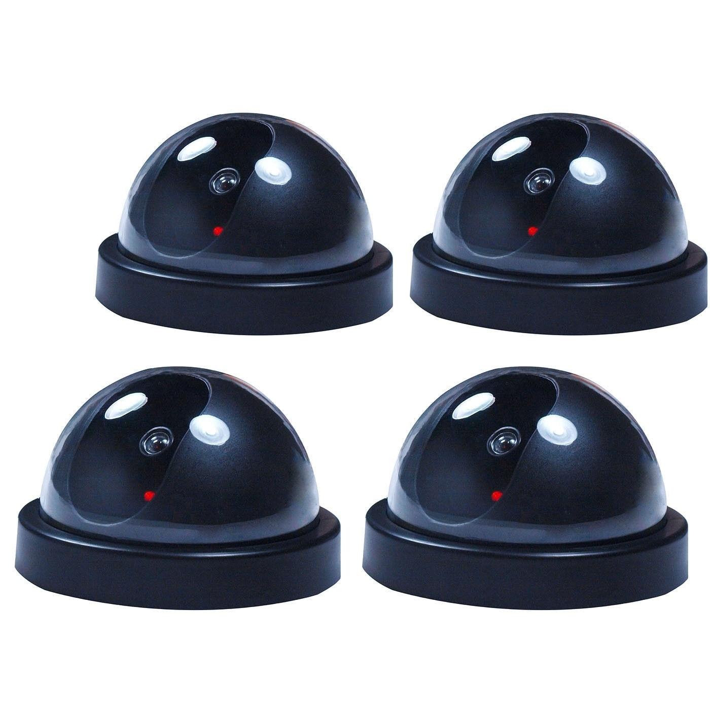 4 PCs Fake Dummy Dome Surveillance Security Camera CCTV w/ Record Flash Light