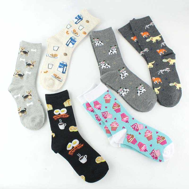 Skarpetki yaratıcı komik çoraplar Harajuku kurabiye/Pizza/yumurta desen Divertidos Pug sevimli çorap kadın mutlu Chaussette Femme Sokken