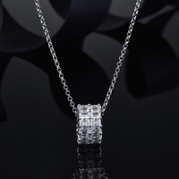 Double Layer Circle Square Crystal Rhinestone 925 sterling silver Mirco Zircons Round Charm Pendant Necklace For Women Jewelry