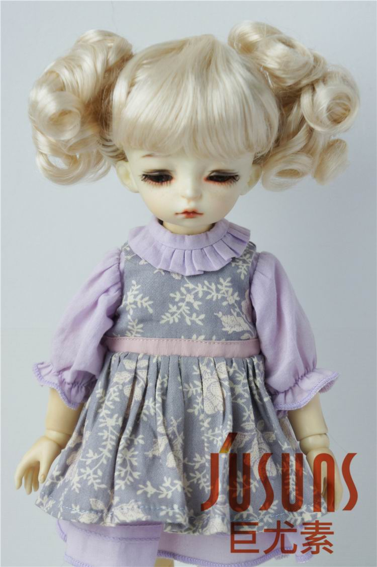 JD275 YOSD MSD Cute Synthetic Mohair doll wigs 1/6 1/4 Lovely two curly pony BJD wig size 6-7 inch 7-8 inch doll hair jd145 msd synthetic mohair doll wigs 7 8inch long curly bjd hair 1 4 doll accessories