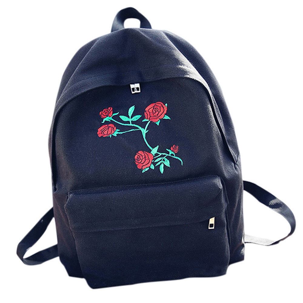 School bag embroidery - Women Backpack Fashion Girls Embroidery Rose Solid Colour Canvas School Bag Travel Backpack Bag Casual Feminina Bag 2017