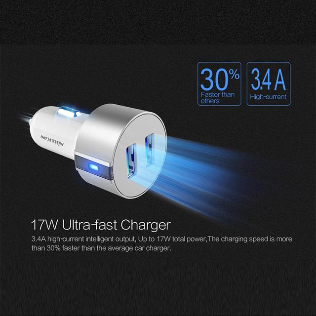 Nillkin Vigor Carga Rápida 5 V 3.4A 2 Portas USB Carregador de Carro Micro usb data cable para samsung s6 s6 s7 s7 edge xiaomi meizu htc