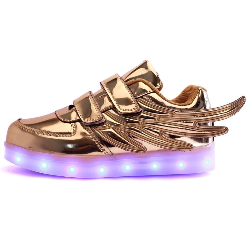 2017 Nuovo Usb Di Ricarica Incandescente Sneakers Bambini Che Corrono Le Ali Bambini Luci Led Up Luminoso Scarpe Ragazzi Ragazze Scarpe Di Moda