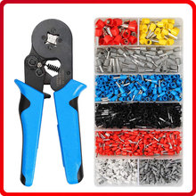 HSC8 6-4A 0.08-10mm2 Crimping tools pliers set electrical with 1200pcs tubular Terminal Crimp Connector Insulated