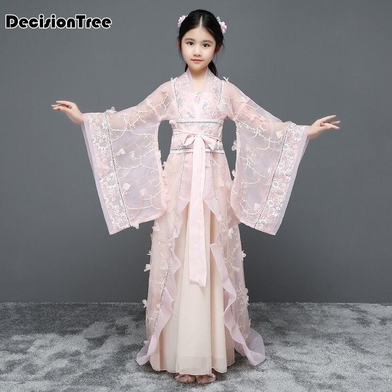 2019 nouvelles filles costume de princesse chinoise costumes de danse traditionnelle enfants Floral dentelle folk anciennes robes de la dynastie hanfu tang