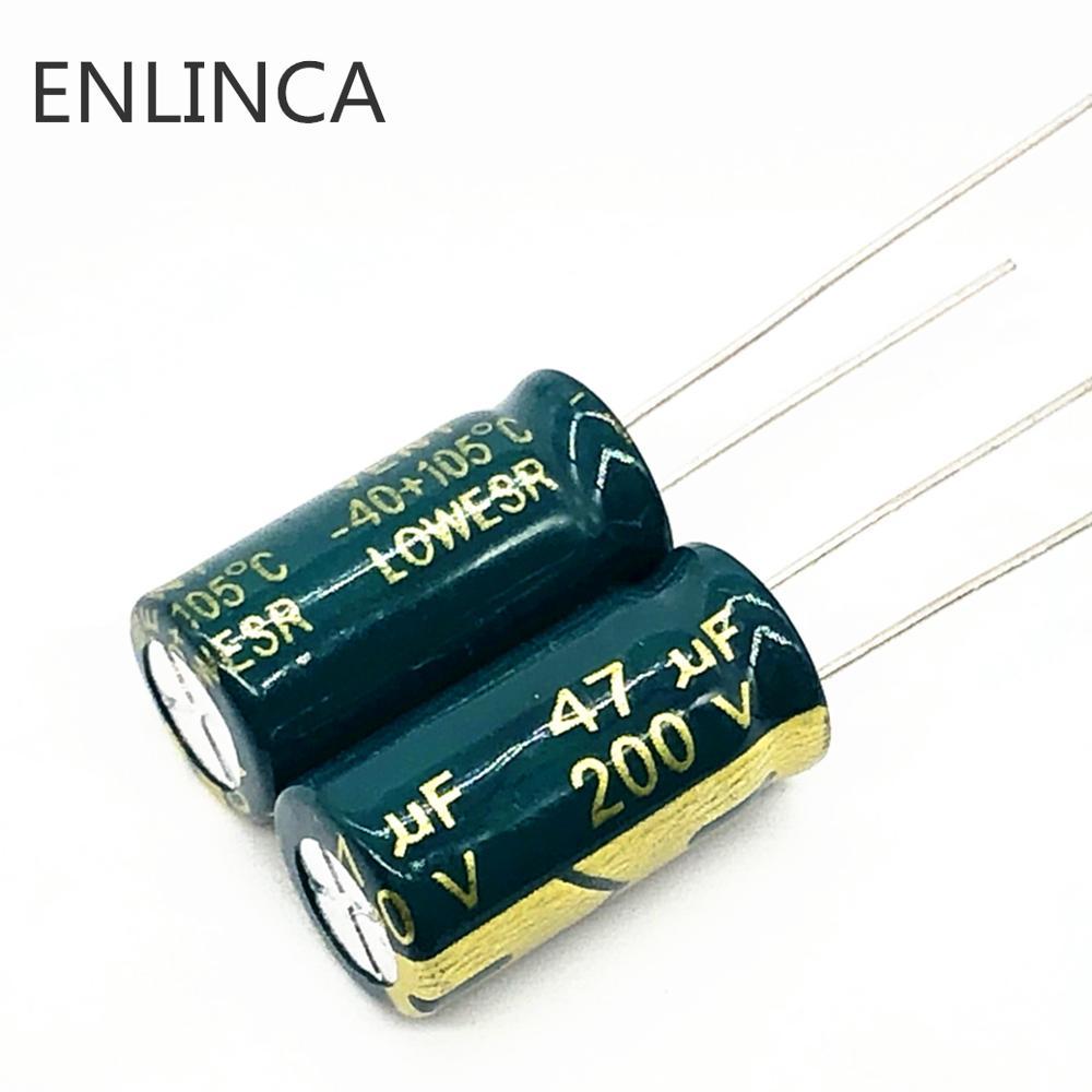 60pcs/lot 47UF 200v 47UF Aluminum Electrolytic Capacitor Size 10*20 H034