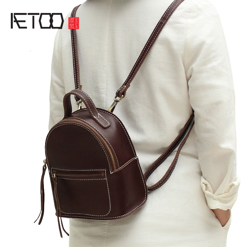 AETOO Mini handmade leather shoulder bag female Korean version of the first layer of leather port wind retro retro bag soft leat new korean version of the first layer of leather pillow bag large lychee pattern handbag shoulder messenger fashion leather leat
