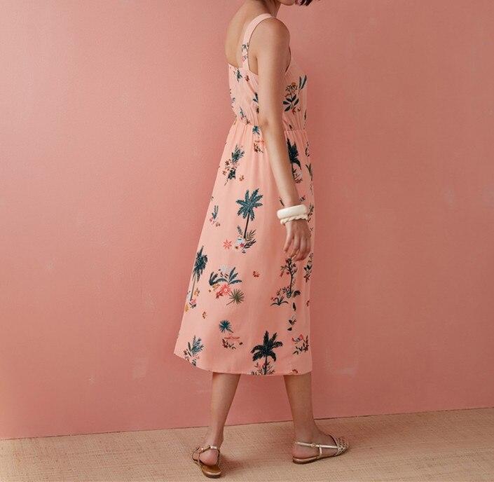 Kobiety różowy kwiat wydruku bez rękawów Midi sukienka 2019 nowy lato V Neck słodki długi sukienka w Suknie od Odzież damska na  Grupa 2