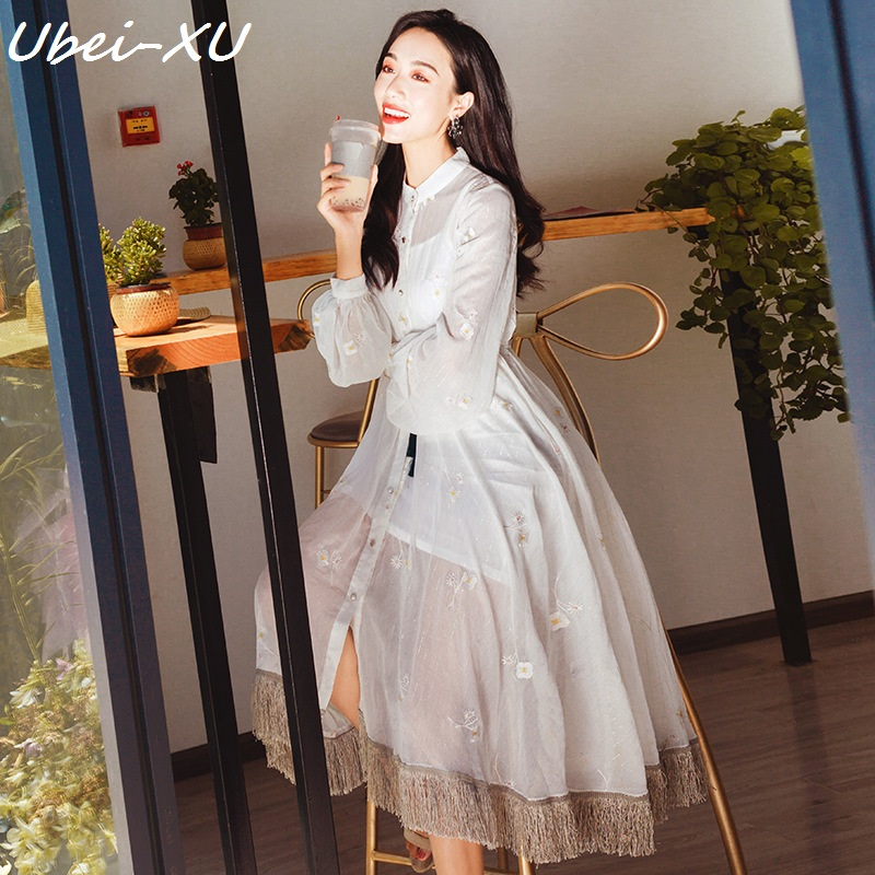 Ubei 2019 women white dress sets  French retro embroidery tassel super fairy beach dress two-piece set dress
