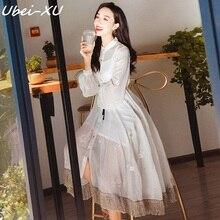 Ubei 2019 women white dress sets  French retro embroidery tassel super fairy beach two-piece set