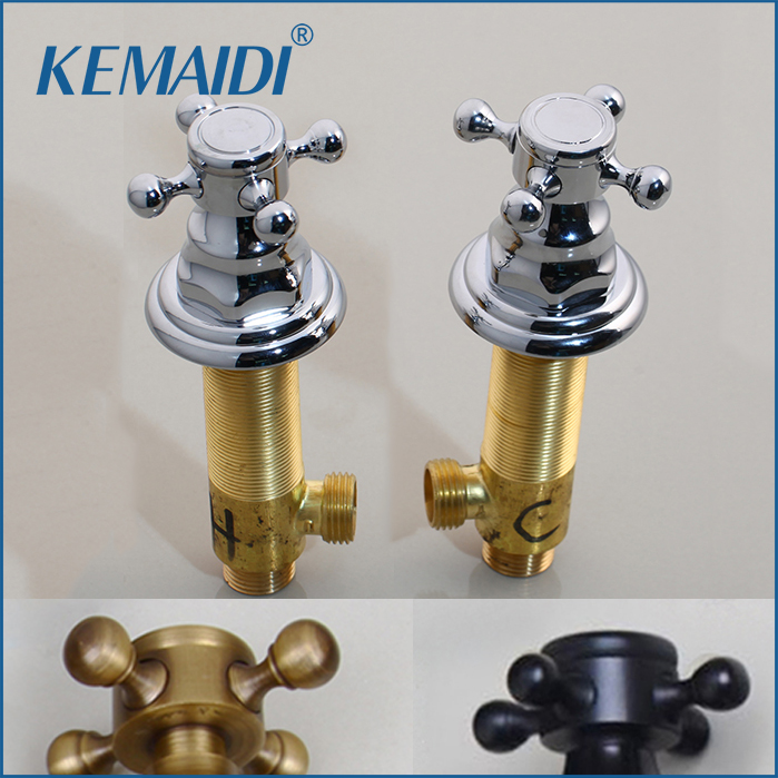 KEMAIDI Antique Brass /Chrome/ Black BasinTap Handle Durable Unique Design Kitchen Hot & Cold Mixer Handle Shower Faucet Hand